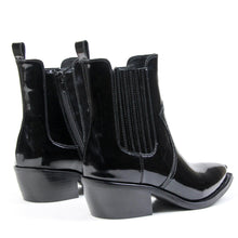 Jeffrey Campbell Valance Ankle Western Chelsea Bootie in black box calf leather featuring a pointed toe with elastic gore and zip closure on a low stacked Cuban block heel. Exclusive to Amo Store. Free Shipping Australia Wide Over $150. Shop Now Pay Later Afterpay & ZipPay.