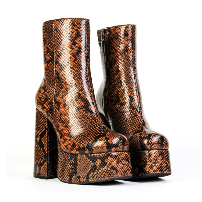 WIDOW Platform Chunky Heeled Boot Brown Snake