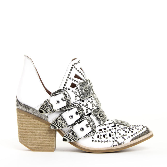 JEFFREY CAMPBELL Wycliff-2 Studded Buckle Bootie White Leather.