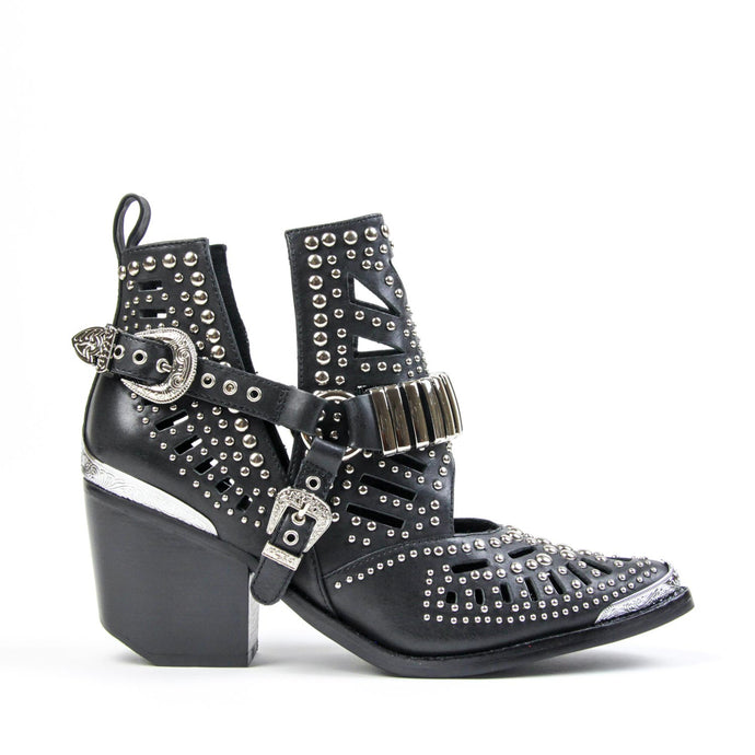 WYLIE Studded Harness Bootie Black Silver <BR><BR> *AVAILABLE FOR PRE ORDER*