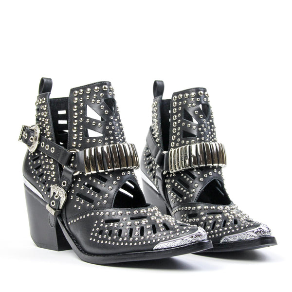 WYLIE Studded Harness Bootie Black Silver
