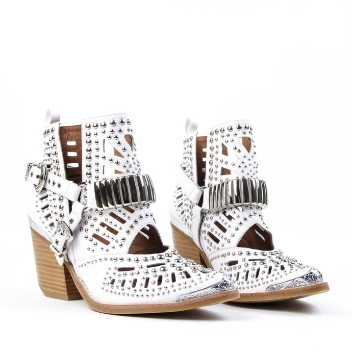 WYLIE Studded Harness Bootie White Silver <BR><BR> *AVAILABLE FOR PRE ORDER*
