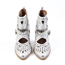 The Jeffrey Campbell Wylie studded western bootie is crafted in lazer cut white leather with silver metal toe rands, polished studding and bold embellished harness with heritage style buckle closure. These rocking women's western booties will liven up a casual look through all seasons. Free, fast shipping Australia Wide. Buy Now & Pay Later with Afterpay.