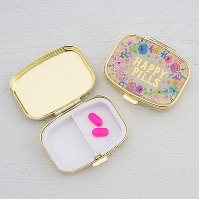Pill Box Happy Pills Gold Case 015