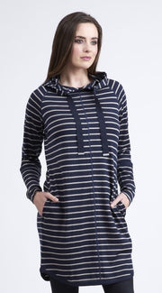 Vassalli Merino Long Sleeve Hooded Tunic Dress 4270 Navy/Barley Stripe