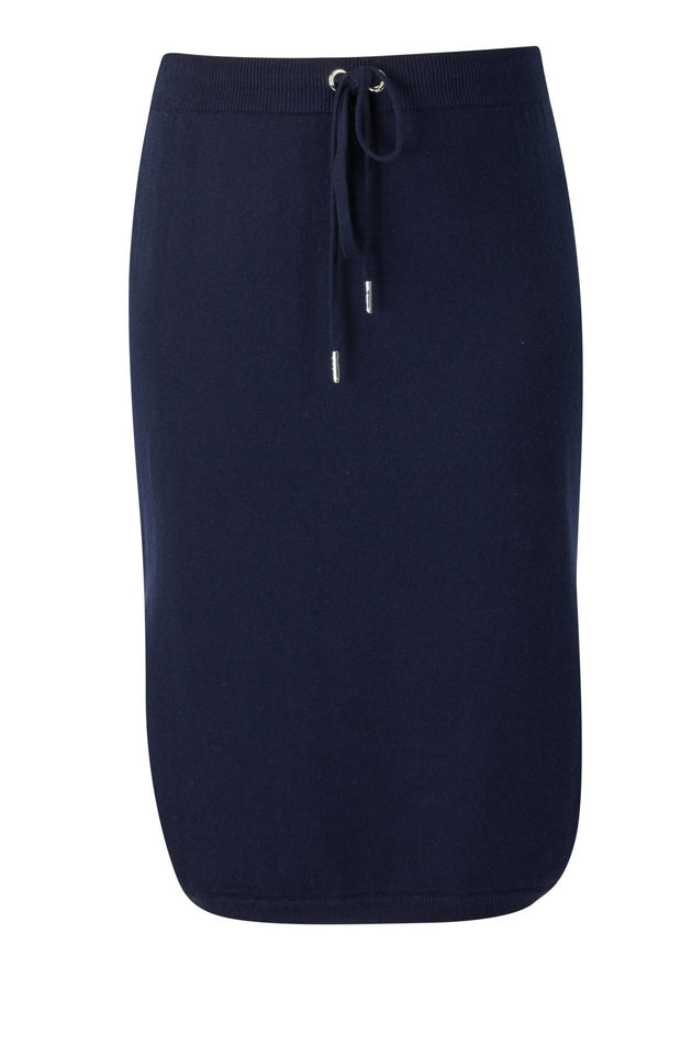 Vassalli Mid Length Knit Skirt in Navy 7022