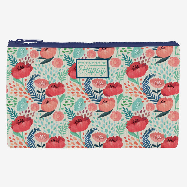 Legami Zipper Pouch Purse Large It's Time to be Happy