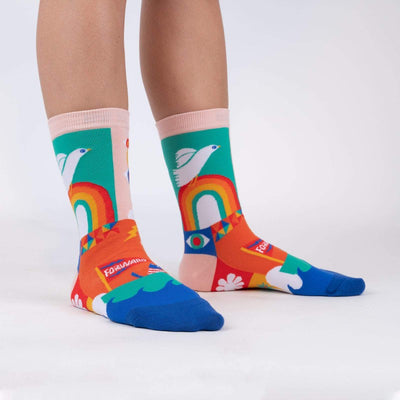 Sock it to Me Women's Crew Socks Peace and Love