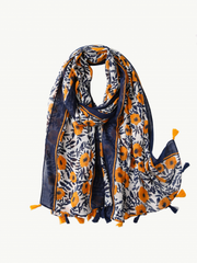 Some Yellow with Blue Flowers Scarf 143