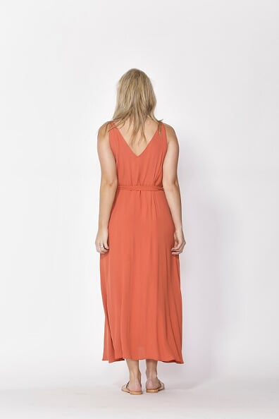 Fate and Becker Juniper V Neck Dress in Rust