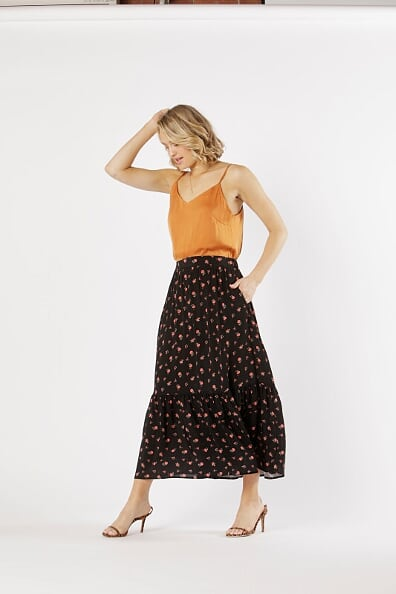 Fate and Becker Sweet Like Honey Skirt in Desert Floral Print