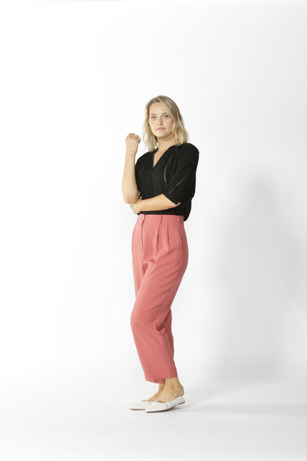 Fate and Becker Salisbury Pleated Pant in Rosewood