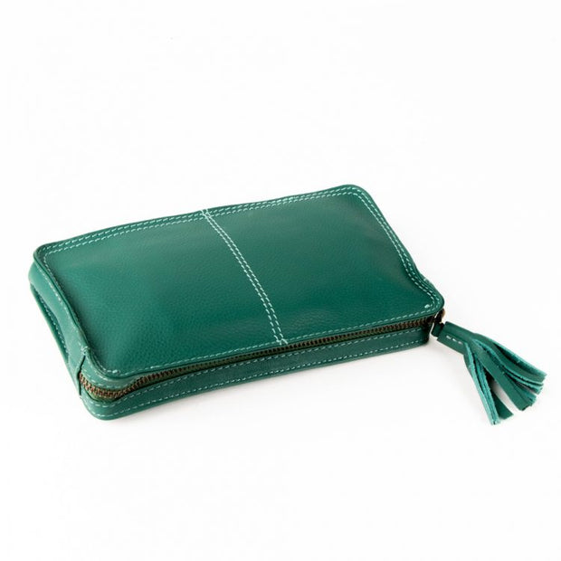 Trade Aid Green Leather Wallet with Tassel