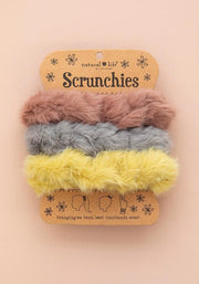 Natural Life Fuzzy Scrunchie Set of 3