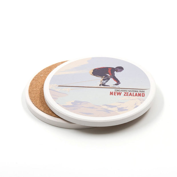 100% NZ Tongariro Tourist Ceramic Coaster