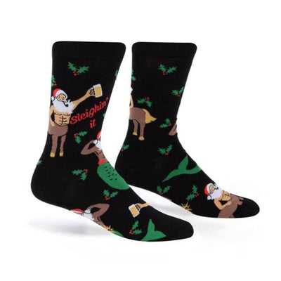 Sock it to Me Men's Crew Christmas Socks Sleighing It 0476