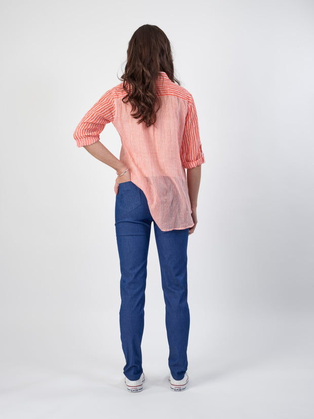 Vassalli Pull on Jeans in Ocean Denim 230