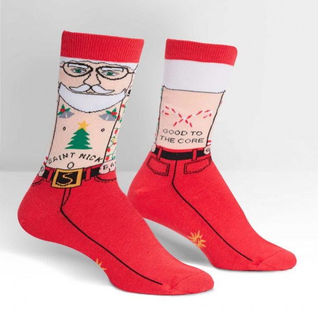 Sock it To Me Female Crew Christmas Socks Saint Nick