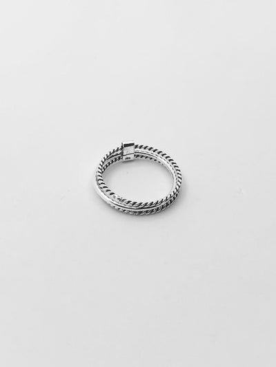 Some Sterling Silver Double Rope Ring with Bar 937