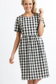 Foil Small Check Dress with Gathered Waist TP10896