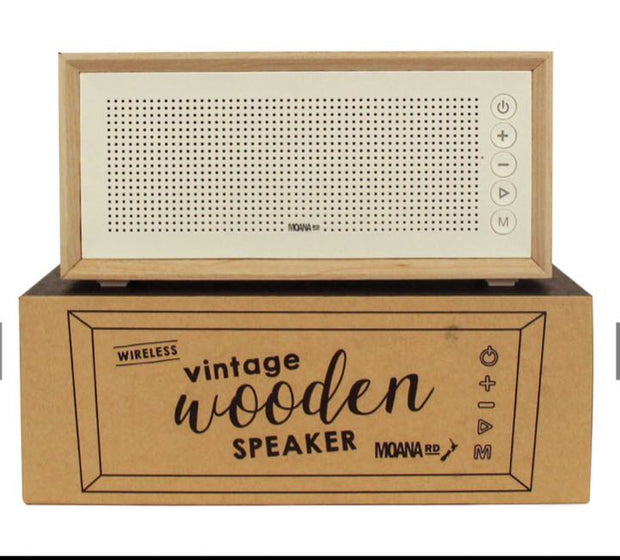 Moana Road Vintage Speaker Wooden White Scandi