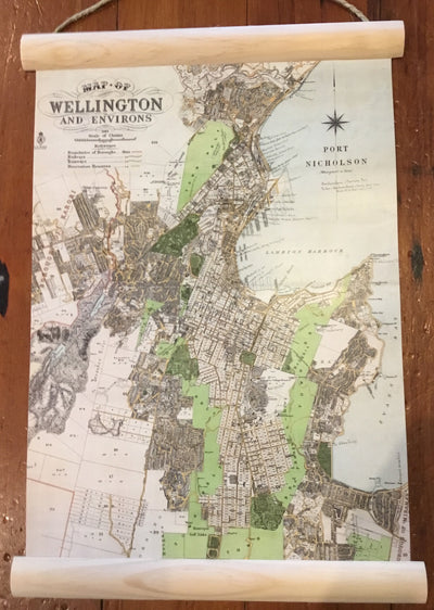 100% NZ Wellington Map Mini Wall Chart