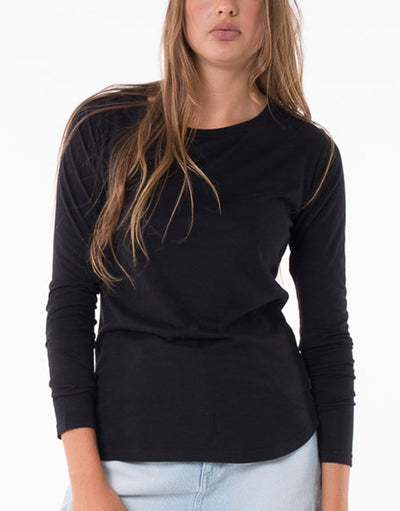 Silent Theory Kara Long Sleeve Tee in Black
