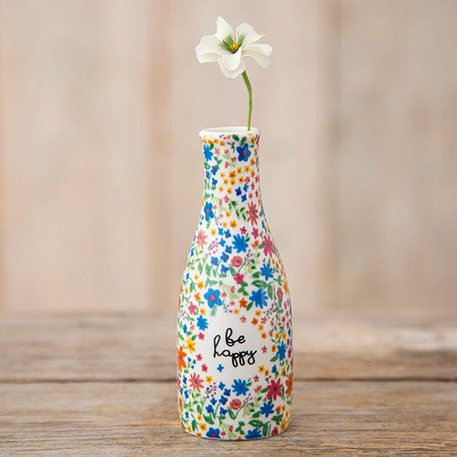 Natural Life Bud Vase Floral Be Happy 019