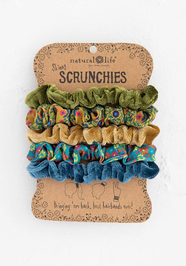 Natural Life Scrunchies 435 Mixed Set Of 5 Green Gold