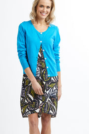 Foil Aqua Cardigan with Round Neck TP11802