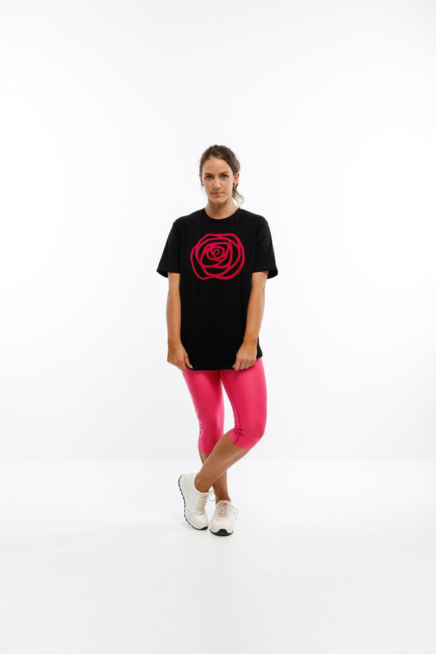 Rose Road Tee Black with Pink Velvet Rose ROS114-16