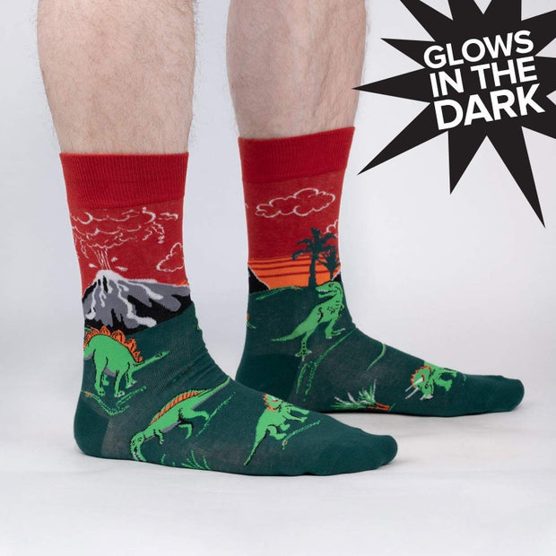 Sock it to Me Men's Crew Socks Dinosaur Days