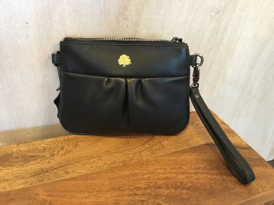 Satch Small Black Leather Handbag with Strap