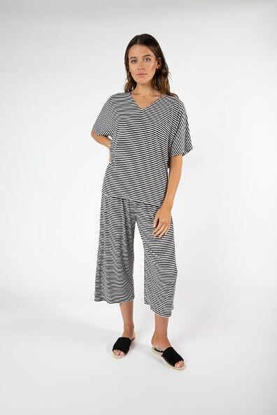 Betty Basics Malta Tee in Black/White Stripe