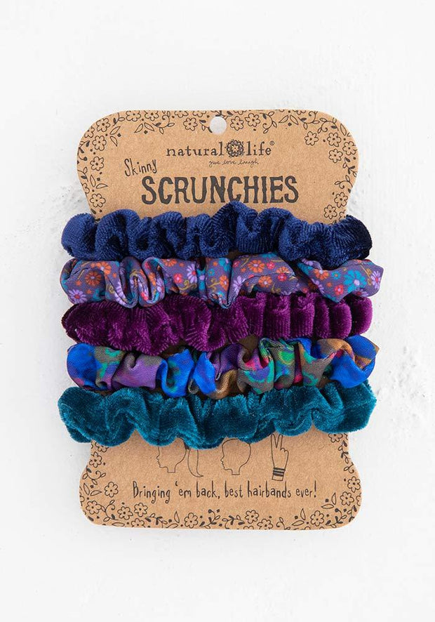Natural Life Scrunchies Mixed Set of 5 Dark Blue 433