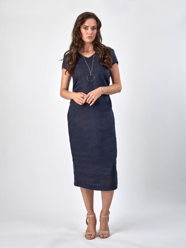 Vassalli V Neck Cap Sleeve Dress with Pleated Waist 6053 in Navy