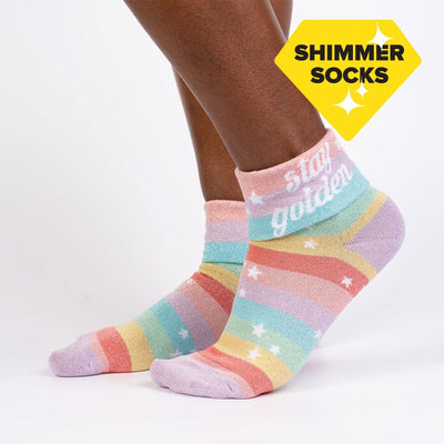 Sock it to Me Turn Cuff Crew Socks Stay Golden Q0001