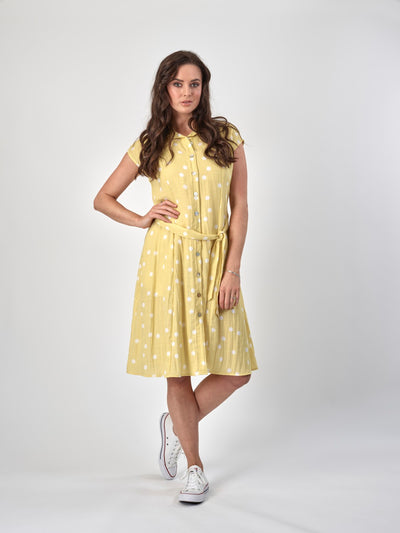 Vassalli Drop Shoulder Button Through Dress with Belt 6052 in Sunshine