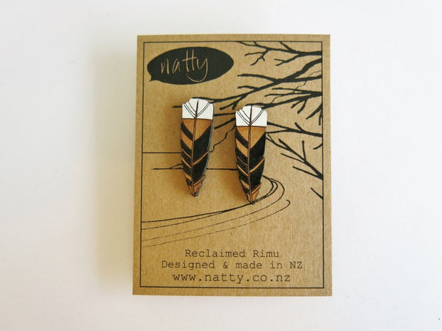 Huia Feather Rimu Stud Earrings J29