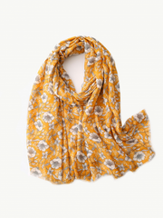 Some Yellow with White Flower Scarf 140