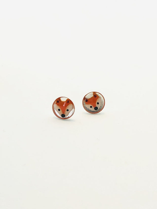 Some Sterling Silver Sweet Fox Disc Earrings EE 070
