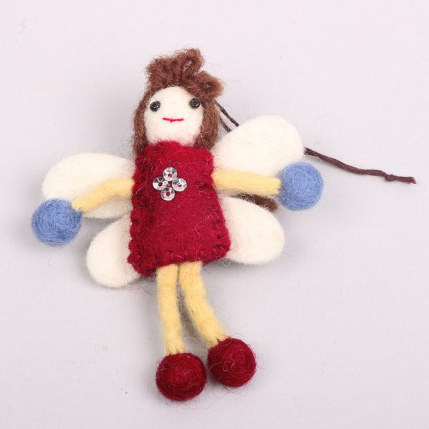 Trade Aid Red and Blue Felt Angel Decoration