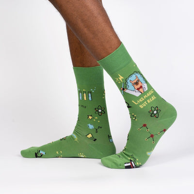 Sock it to Me Men's Crew Socks Trust Me Llama Scientist