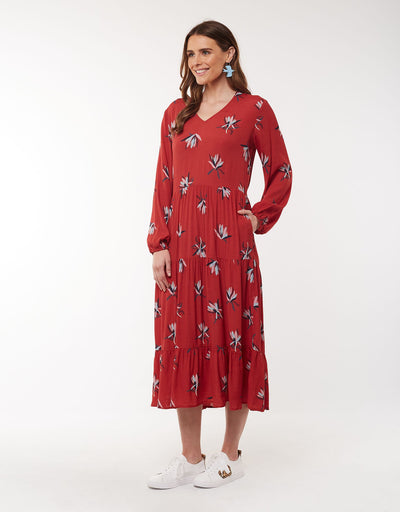 Elm Native Flora Dress in Rust 8172021