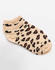 Stella and Gemma Socks Leopard No Show Cream 7276