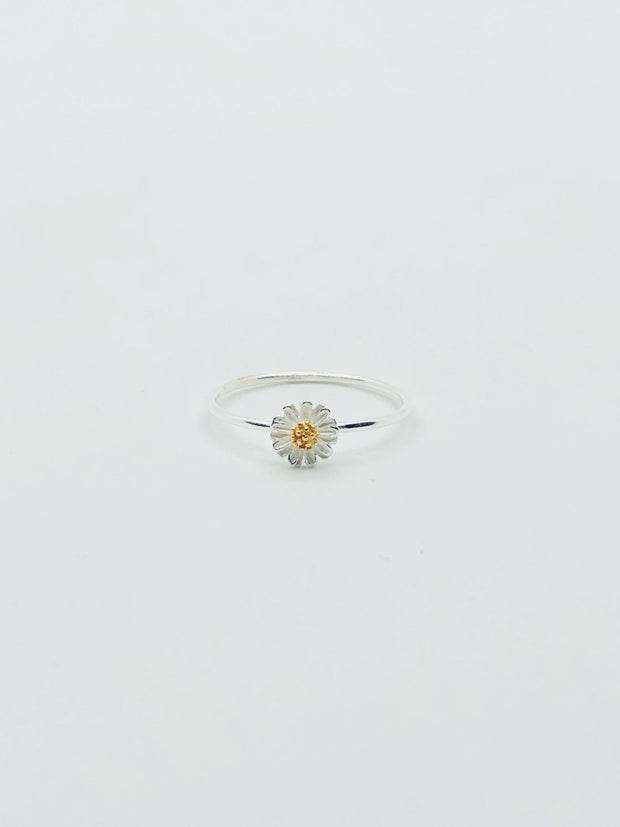 Some Sterling Silver Tiny Daisy Ring with Gold Plated Centre 173