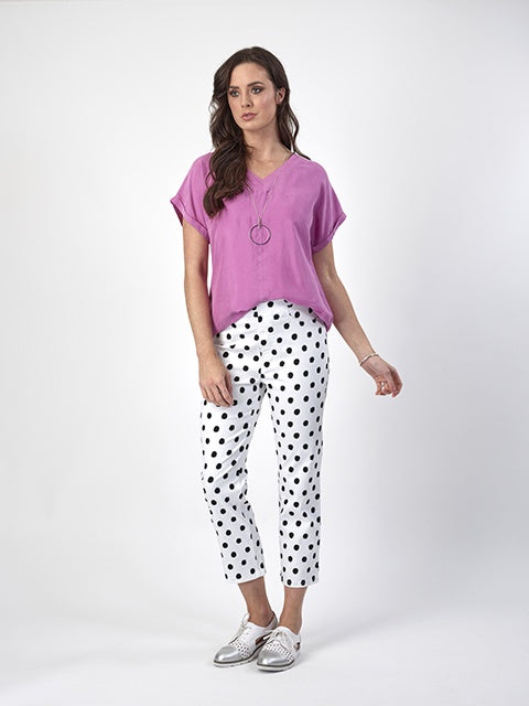 Vassalli Printed Slim Leg 7/8 Lightweight Pull On Pant Spotty 274lw