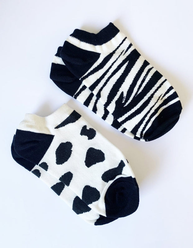 Stella and Gemma Zebra and Cow Socks  set of 2 7299