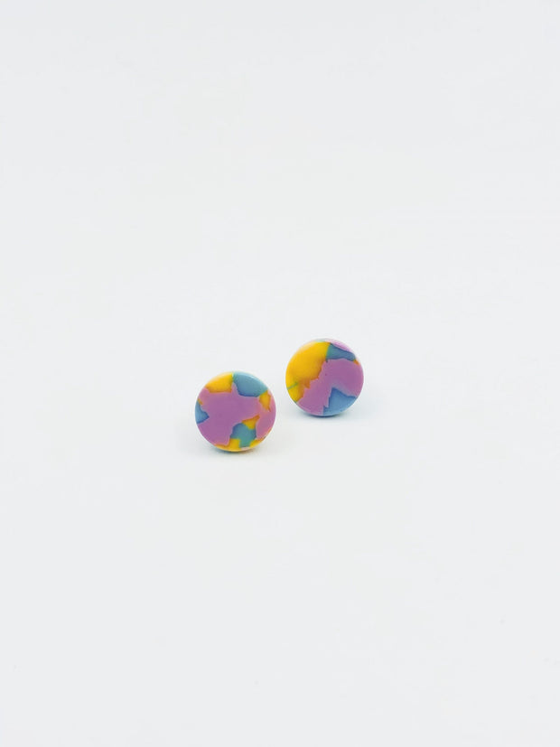 Some Round Resin Stud 947 E Pink with Blue and Yellow