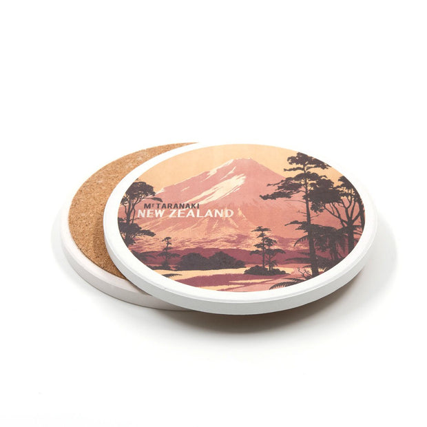 100% NZ Mt Egmont Tourist Ceramic Coaster